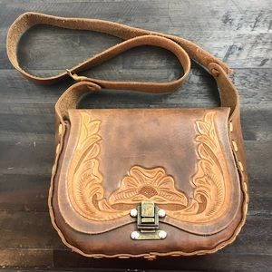 Vintage Hand tooled leather embroidered purse bag